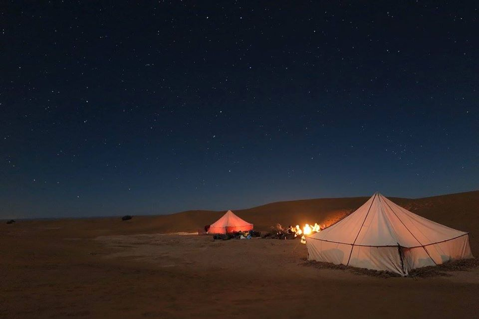 Desert Camp at night in the Sahara, Morocco