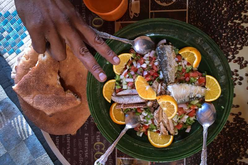 Traditional Moroccan food in our desert tours